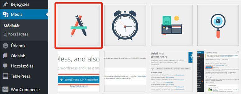 Az SVG fájl képként jelenik meg a médiatárban