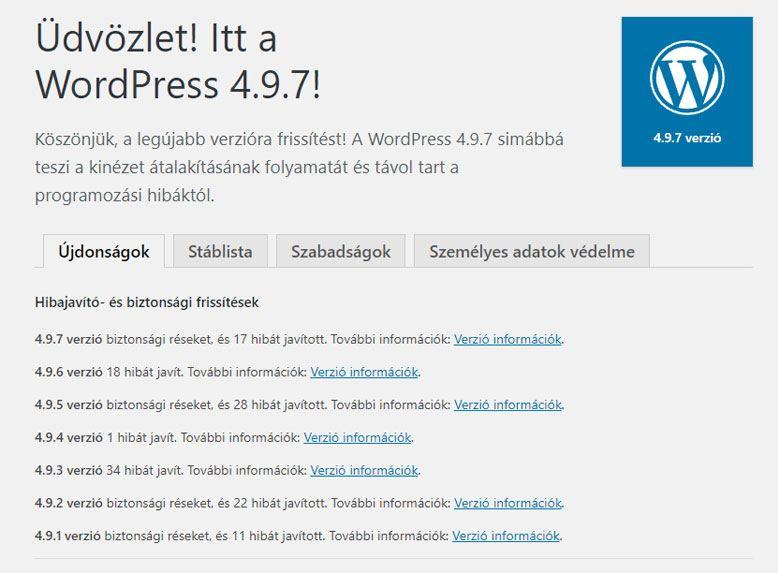 WordPress frissítése - WPStart.hu