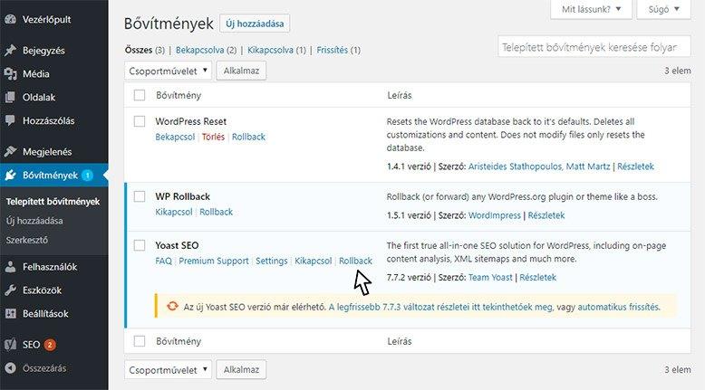 WP Rollback - WordPress kezdőknek