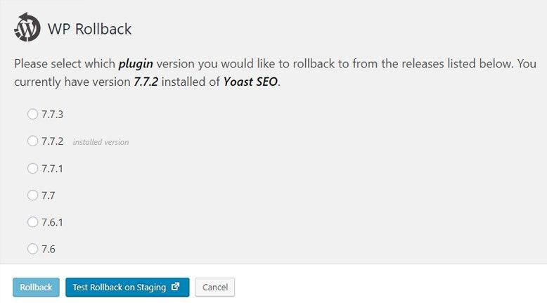 WP Rollback - bővítmény visszaállítása korábbi verzióra