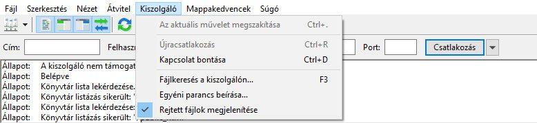 Rejtett fájlok megjelenítése FileZillában