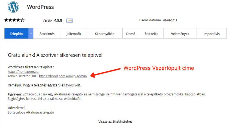 Sikeres telepítés | WordPress kezdőknek