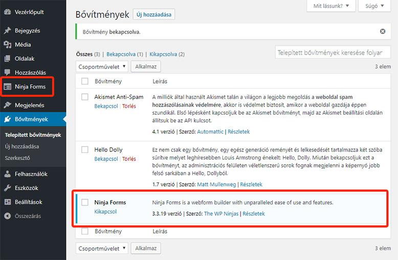 Bővítmények kezelése | WordPress kezdőknek