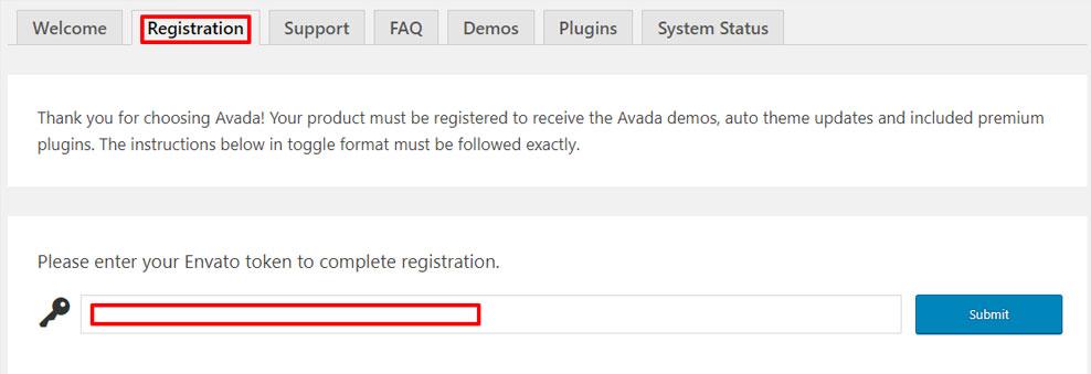 Avada sablon regisztrálása