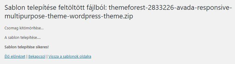 Avada sikeres telepítés - WordPress kezdőknek