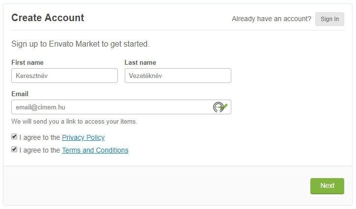 Envato fiók regisztráció - WordPress kezdőknek