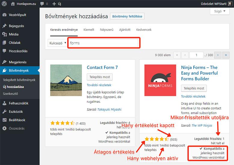 Új WordPress bővítmény hozzáadása