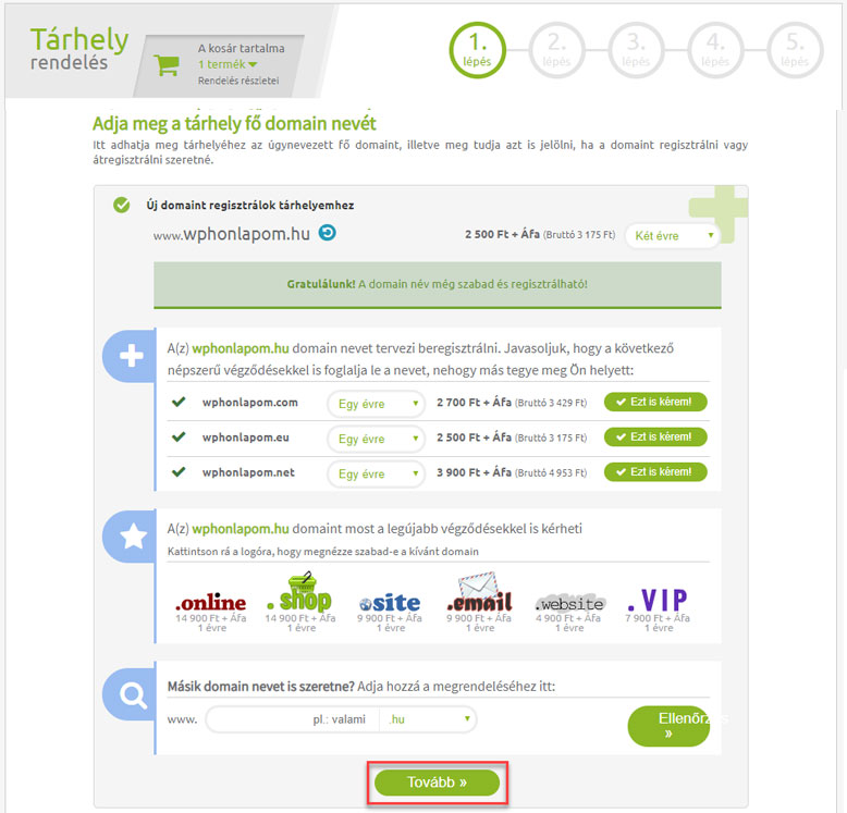 Domain választás tárhelyhez | WordPress kezdőknek