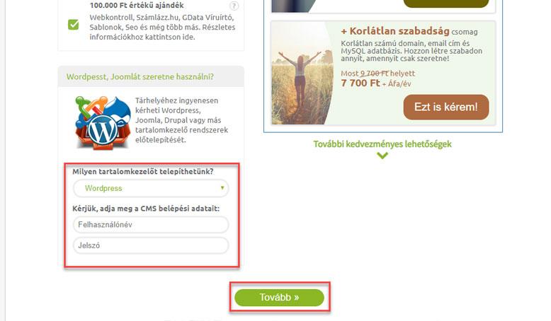 Előtelepített WordPress | WPStart.hu