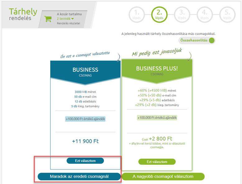 Business csomag WordPress tárhely