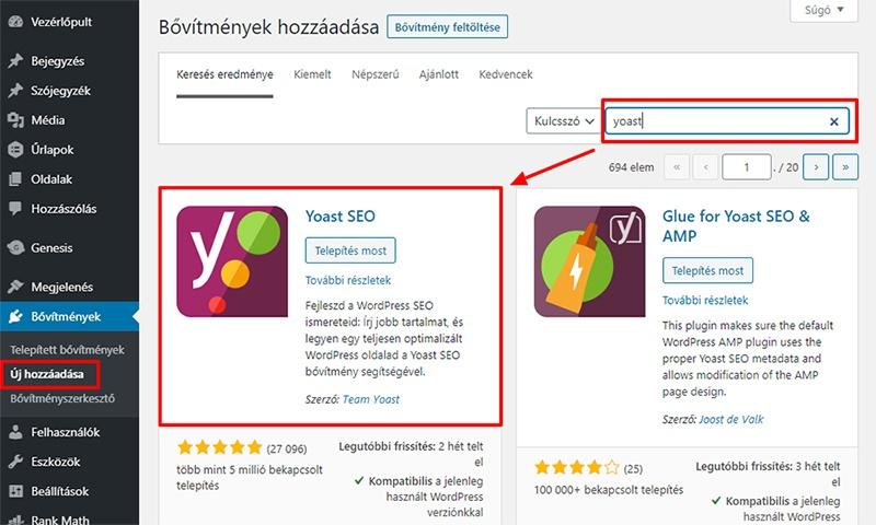 Yoast SEO telepítése a WordPress vezérlőpultból