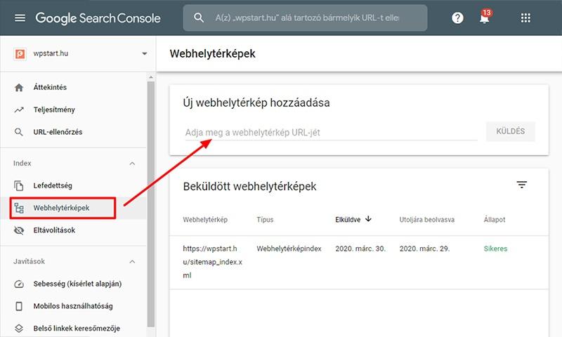 Webhelytérkép beküldése Search Console-ban