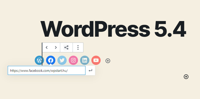 WordPress 5.4 újdonságok - Közösségi média ikonok