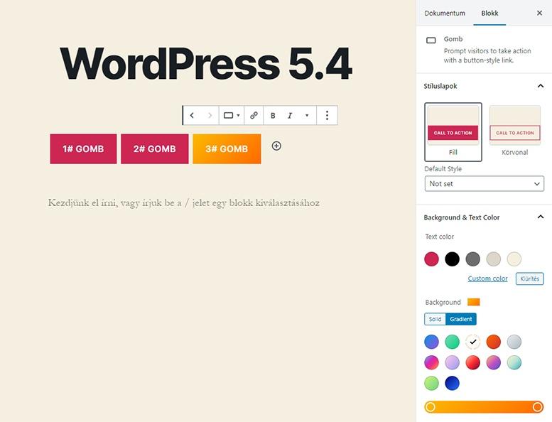 WordPress 5.4 újdonságok - Fejlesztett Gombok blokk