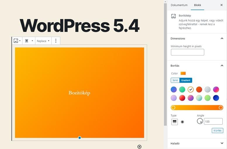 WordPress 5.4 újdonságok - Színátmenet