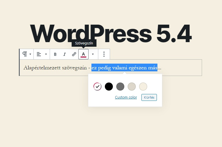 WordPress 5.4 újdonságok - Bekezdés szövegszín