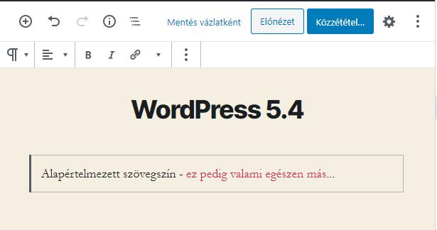 WordPress 5.4 újdonságok - Mobil eszköztár