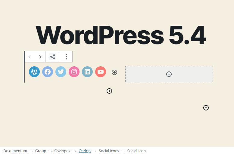 WordPress 5.4 újdonságok - Morzsamenü