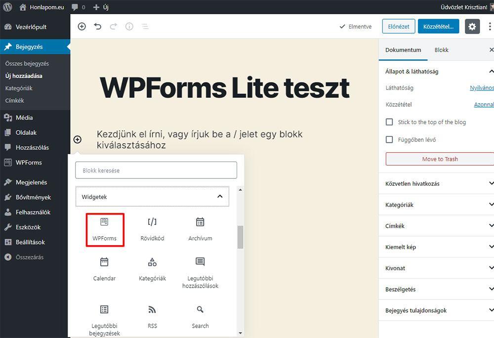 WPForms Lite - Űrlap beillesztése a tartalomba