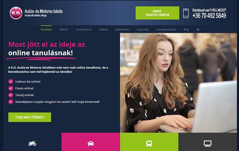 K.O Autósiskola weboldal