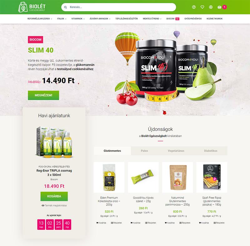 Biolét Egészségbolt WooCommerce webshop