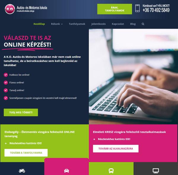 K.O. Autósiskola WordPress honlap